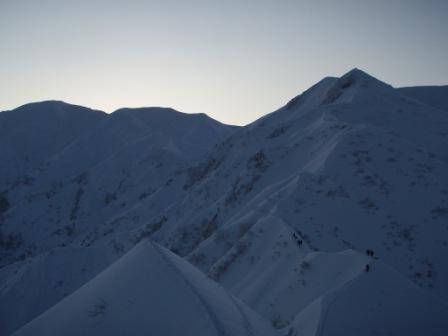 三ツ石直下の雪稜
