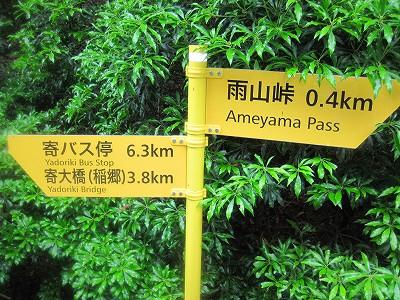 登山道にでた 外国のバスストップみたいな看板