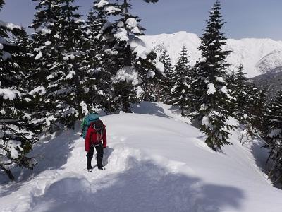 連休で登山者が多く入っているようで、西穂山荘までしっかり踏み固められた道が出来ていました。